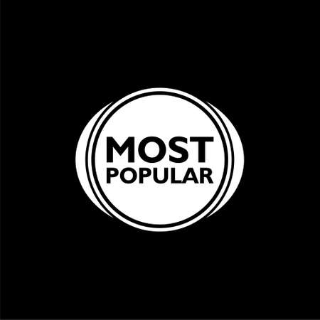 Most popular sign icon isolated on black background
