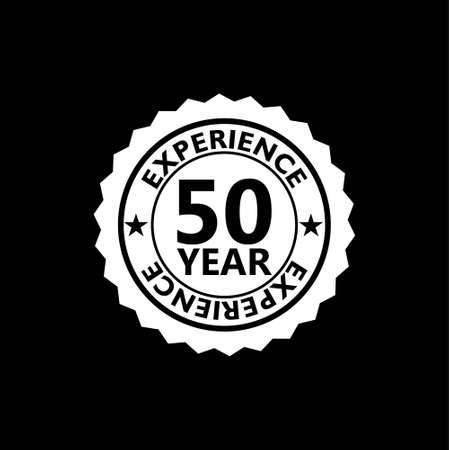 50 years experience with ribbon sign isolated on black background
