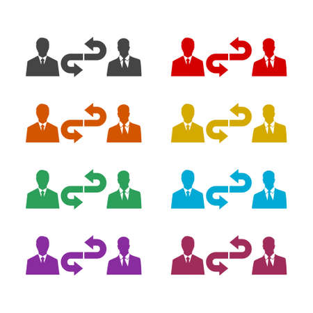 Conversation color icon set isolated on white background
