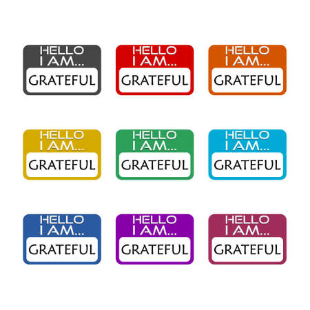 Hello I Am Grateful sign color set isolated on white background Vector Illustration