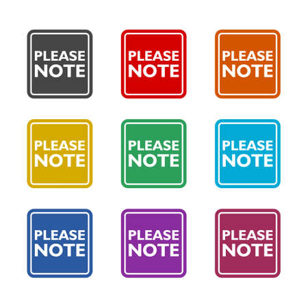 Text sign showing Please Note color icon set isolated on white background Vektoros illusztráció