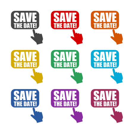 Save the date sign color set isolated on white background