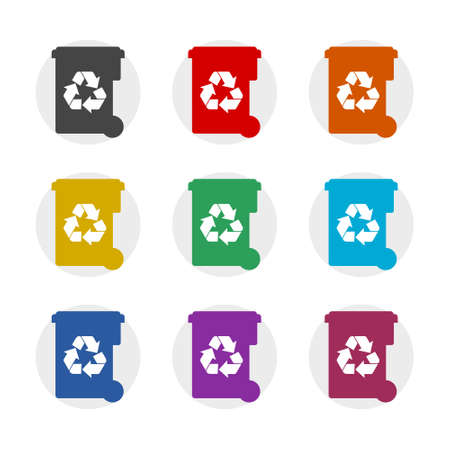 Trash can color icon set isolated on white background
