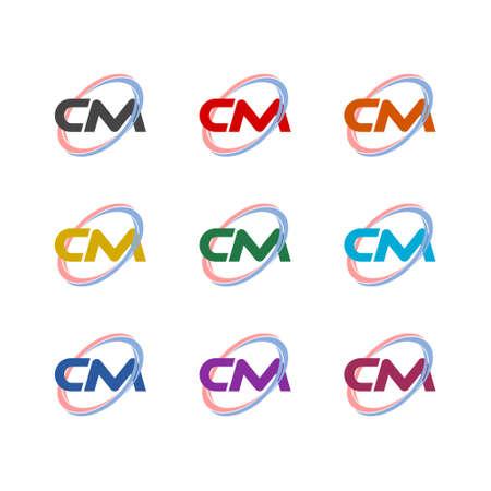 CM C M Letter Design color icon set isolated on white background Vektoros illusztráció