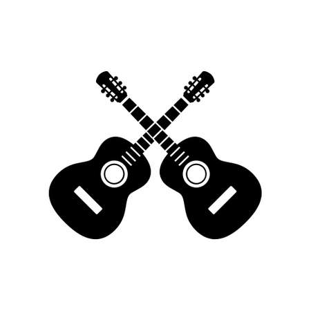 Two crossed guitars icon. Musical instrument isolated on white background