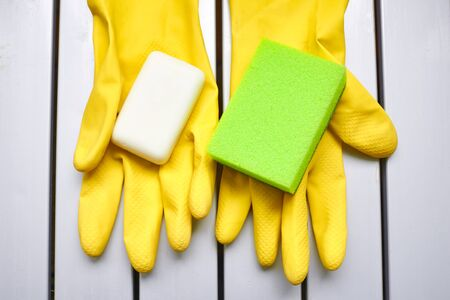 Cleaning kit. Soap, sponge and gloves.