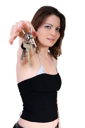 doorkey: Young girl holding the keys of car and house Stock Photo