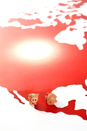 Two figure of pigs are standing at the map of America, illustration for  Stock Illustration - 4955819