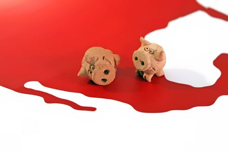 Two figure of pigs are standing at the map of America, illustration for Stock Illustration - 4955818