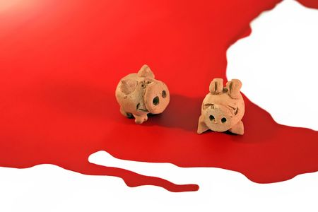 epidemic: Two figure of pigs are standing at the map of America, illustration for