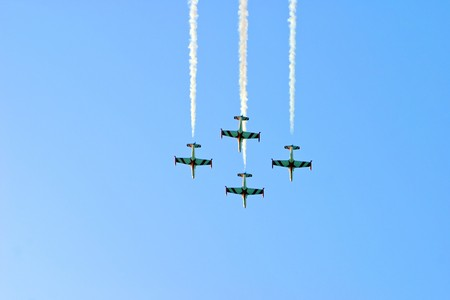 demonstrative: Airplanes demonstrative exercise. Opening of music festival Exit in Novi Sad, Serbia. Stock Photo