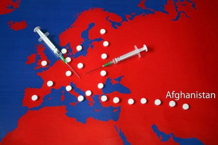 balkans: Map with drugs. Drugs road from Afghanistan through Turkey and Balkans to central and west Europe.