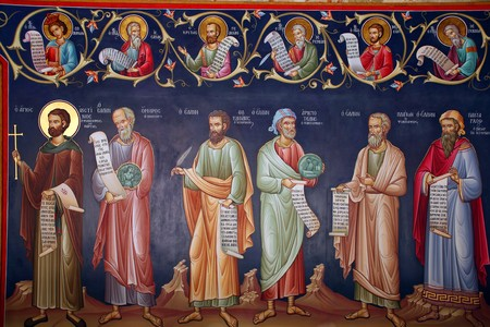 monasteries: Holy monasteries in Greece, fresco of saints and holy men