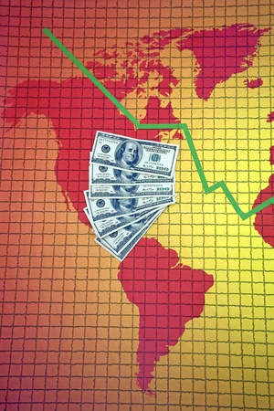Money at the world map with falling diagram - America photo
