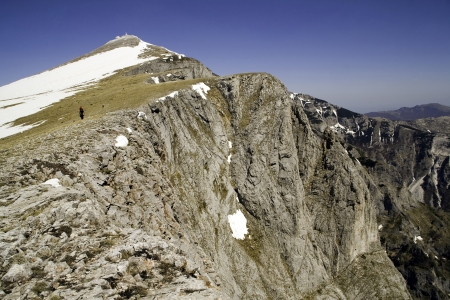 Mountaineers are climbing on high mountain in Macedonia photo