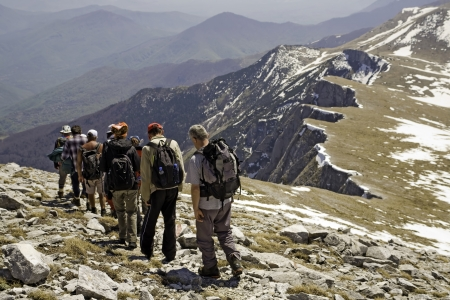 Mountaineers are climbing on high mountain in Macedonia, ex Yugoslav republic photo