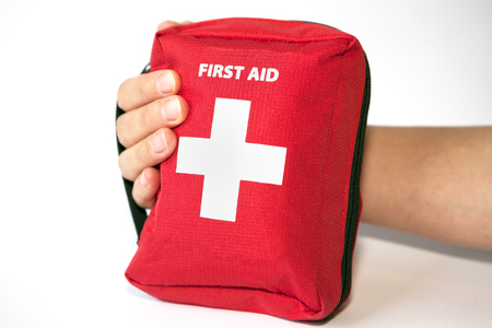 First aid kit for outdoor sports, car, etc. Stock Photo