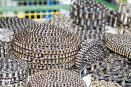 Heap of chains, industrial abstract background