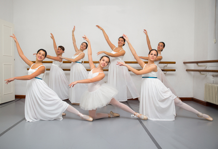 ballerina girl: Ballerina Dancers Pose for Recital Photo Stock Photo