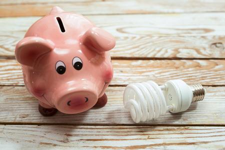 ahorros: Piggy Bank y el bulbo ahorro de energía en el fondo de madera