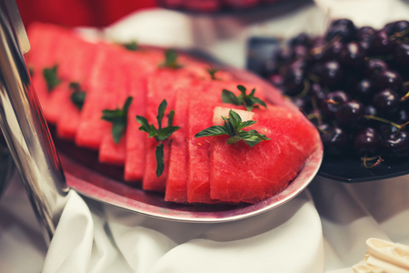 Watermelon on the buffet table
