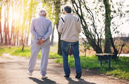 vue de derrière d & # 39 ; un fils adulte marchant avec son père âgées dans le parc