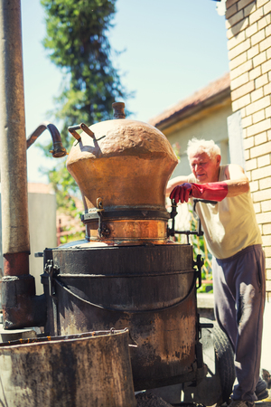 Traditional homemade distillery for making brandy Reklamní fotografie - 83909423