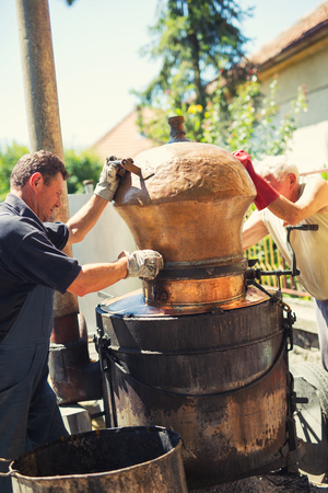 Traditional homemade distillery for making brandy