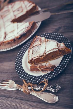 Homemade Delicious Pumpkin Pie made for Thanksgiving Banco de Imagens - 85526354