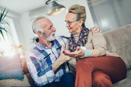 Seniors couple at home measuring blood pressure. Home monitoring Reklamní fotografie - 93752820