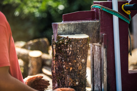 A man working with the firewood to split the logs by the machine on the driveway in the garden Stock Photo
