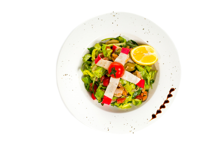 Fresh seafood salad at restaurant isolated on white Stock Photo