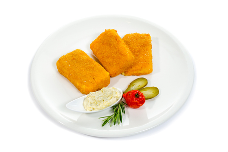 Fried Cheese isolated on white background Banque d'images - 114564542