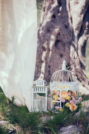 Vintage wedding decorative birdcage with flowers on natural background Imagens