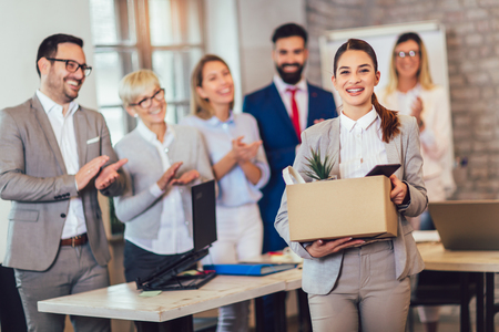 New member of team, newcomer, applauding to female employee, congratulating office worker with promotion