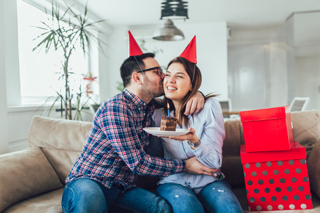 Husband's birthday.Wife surprise his husband with birthday cake .Anniversary. Stock Photo - 115766746