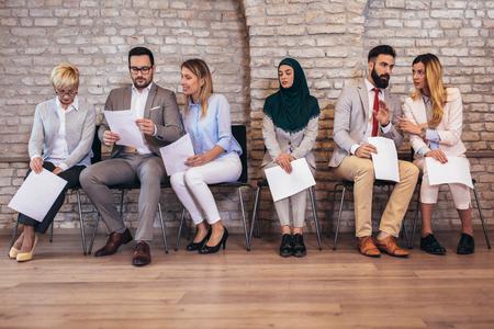 Job applicants having interview Stock Photo