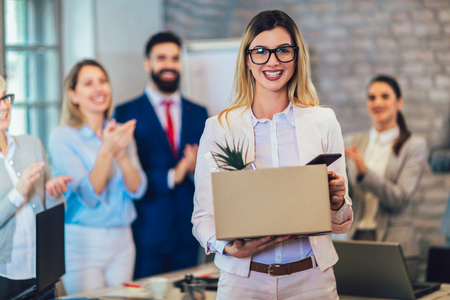 New member of team, newcomer, applauding to female employee, congratulating office worker with promotion, common work practices. Stock Photo