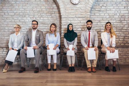 Job applicants having interview Stockfoto