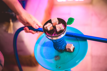 Traditional colorful hookah in the restaurant Stock Photo