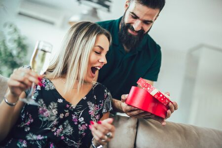 Happy young couple having romantic day at home. Stock Photo - 137499418