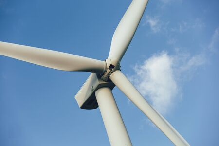 Windmills for electric power - Energy Production with clean and Renewable Energy Archivio Fotografico