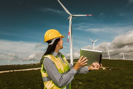 Windmill engineer inspection and progress check wind turbine