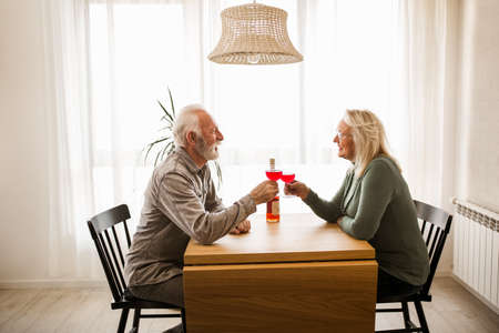 Senior couple at home drinking red wine Banque d'images