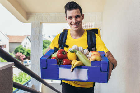 Young man delivering online grocery order.