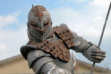 reenaction: A powerful armour showed near Verona Arena