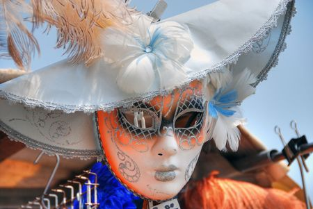 carnivale: A mask in Venice exposed in a market