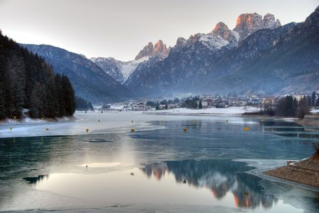 dolomites: Winter on Dolomites Mountains, Italy Stock Photo