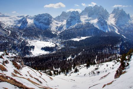 Wonderul view of Dolomites Mountains in Italy photo