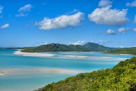 Overview of Whitehaven Beach Area in the Whitsundays Archipelago, East Australia